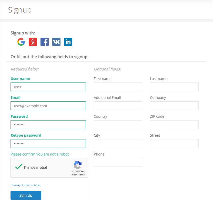 Registration page.